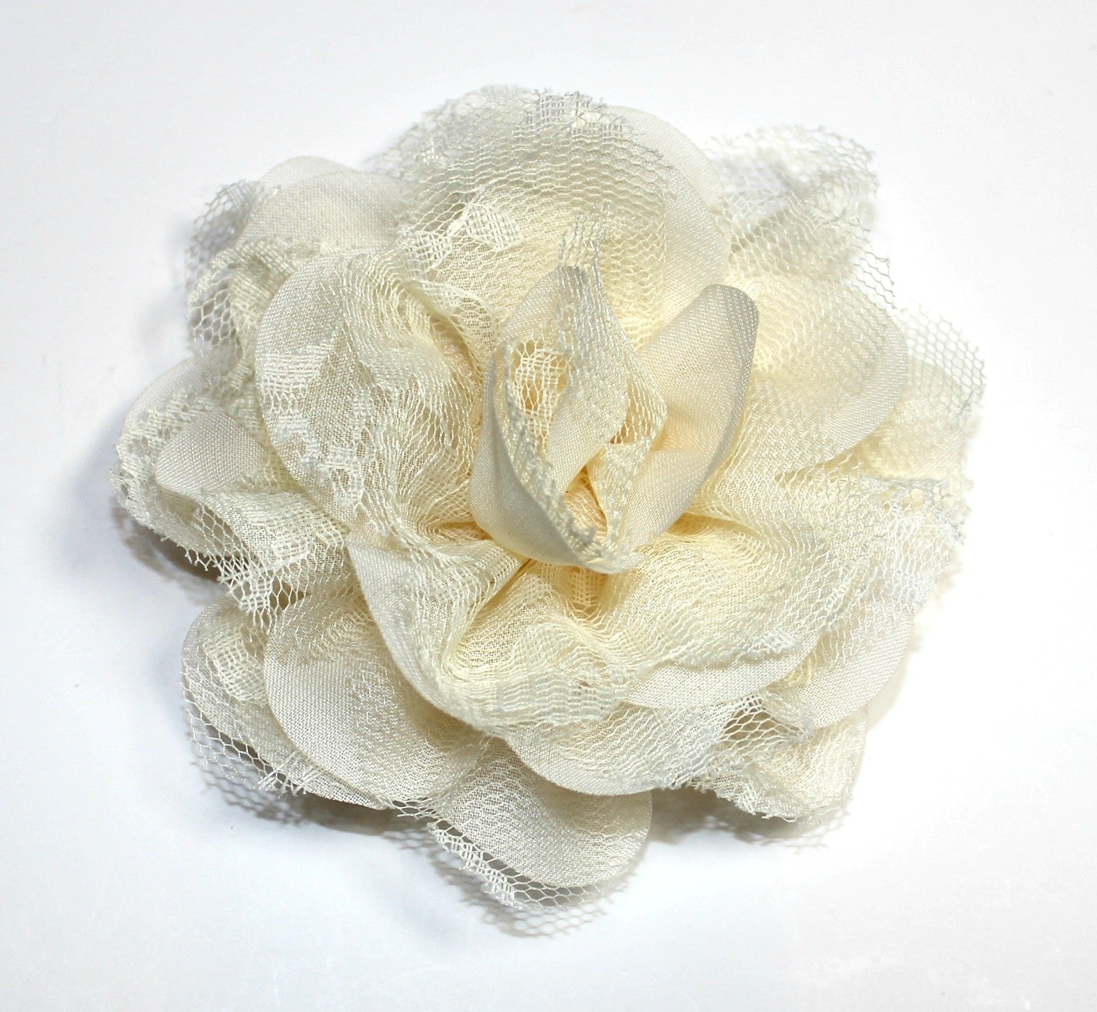 Chiffon and Lace Flower - Cream - shabbyflowers.com