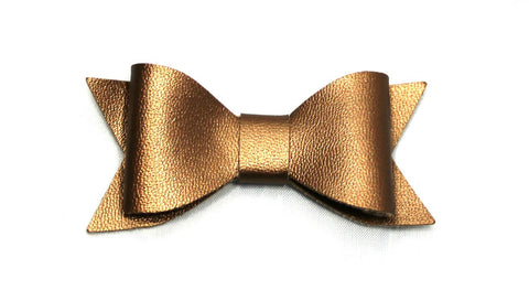 Faux Leather Bow with Clip - Copper