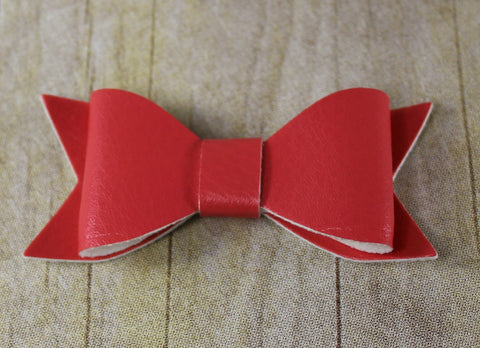Faux Leather Bow - Coral