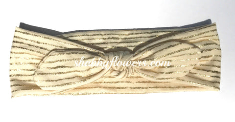 Knot Headband - Gold Stripes on Cream - Size Regular