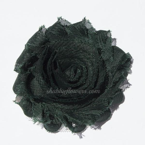 Shabby Chiffon Flower - Dark Green - shabbyflowers.com