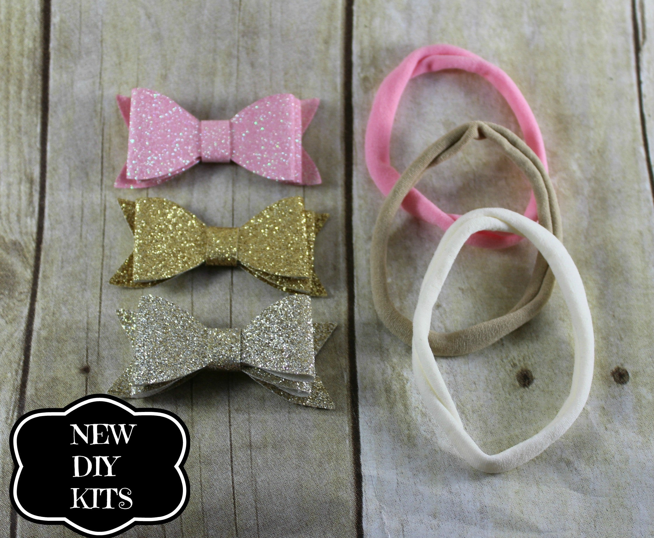 Nylon Headband Kit -Glitter Bows - shabbyflowers.com