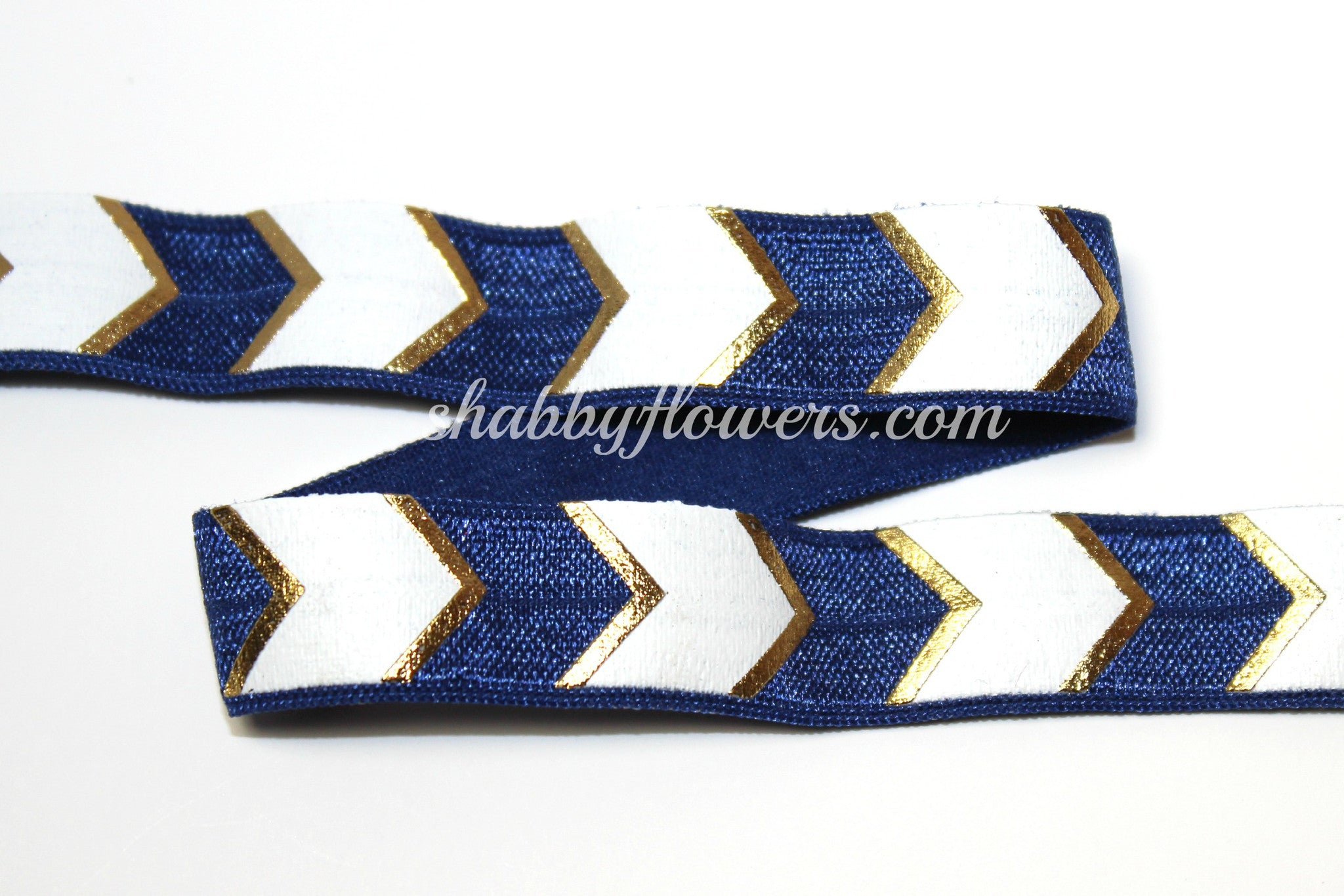 Elastic- Gold Foil/White Chevron on Navy - shabbyflowers.com