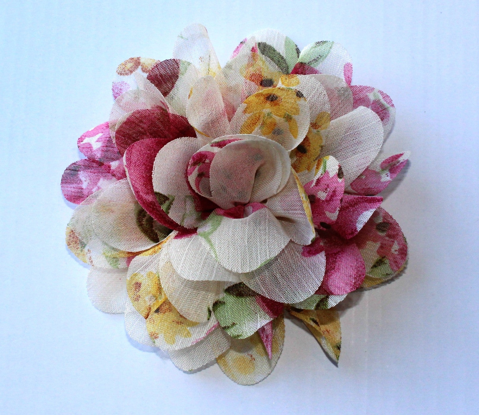 Large Chiffon Flower- Cream Floral - shabbyflowers.com