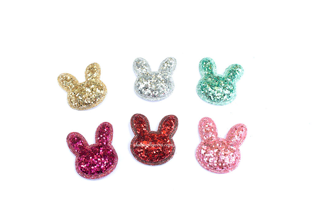 Small Glitter Padded Bunny Applique - Choose Your Color - shabbyflowers.com