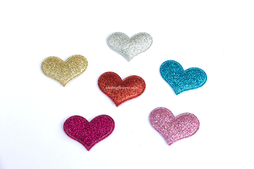 Glitter padded heart applique choose your color