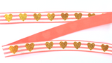 Elastic- Gold Glitter Hearts on Coral - shabbyflowers.com