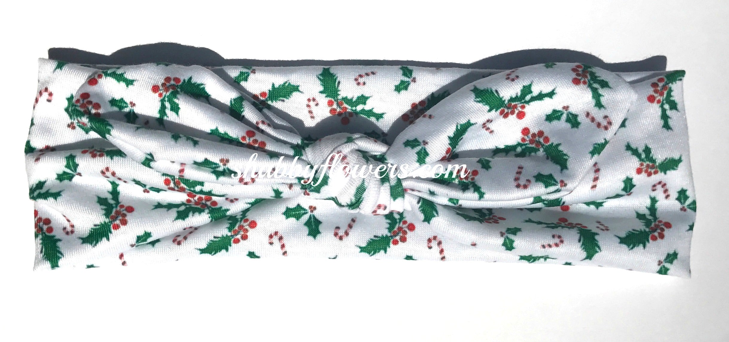 Knot Headband- Christmas Holly - Regular - shabbyflowers.com