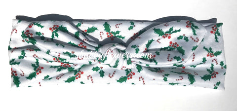 Knot Headband- Christmas Holly - Small