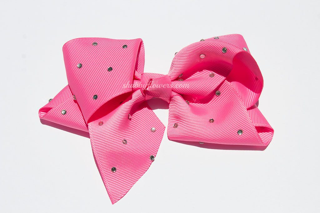 Rhinestone Grosgrain Bow - Barbie Pink - shabbyflowers.com