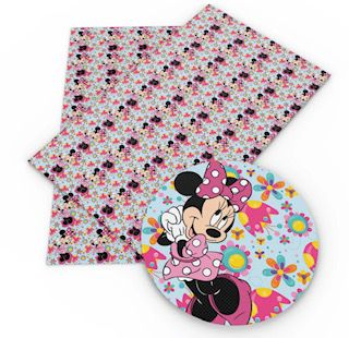 Faux Leather Sheet - Minnie Mouse Floral
