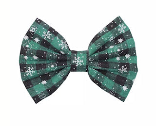 "5"" Christmas Plaid Fabric Bow - Green and Black with White Snowflakes"