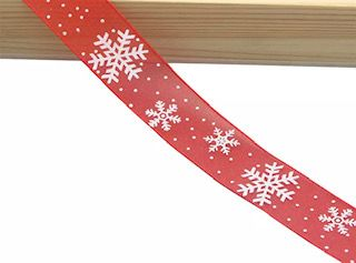 Organza Ribbon - Red with Snowflakes - shabbyflowers.com
