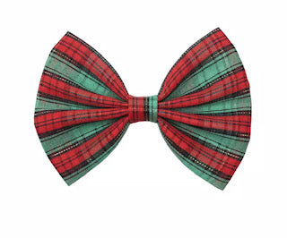 "5"" Christmas Plaid Fabric Bow - Red, Green, and Gold"
