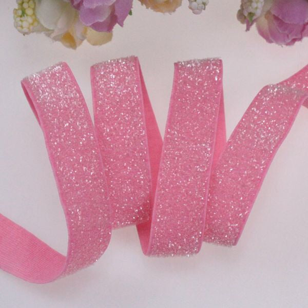 "Glitter Elastic - Light Pink - 5/8"" - shabbyflowers.com"