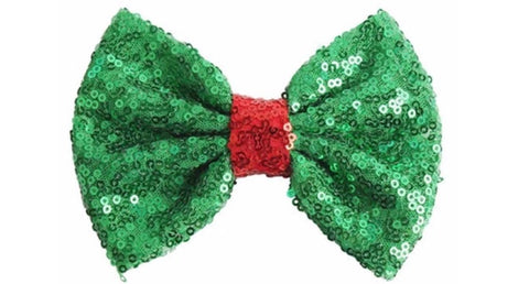 "5"" Large Sequin Bow - Green with Red center"