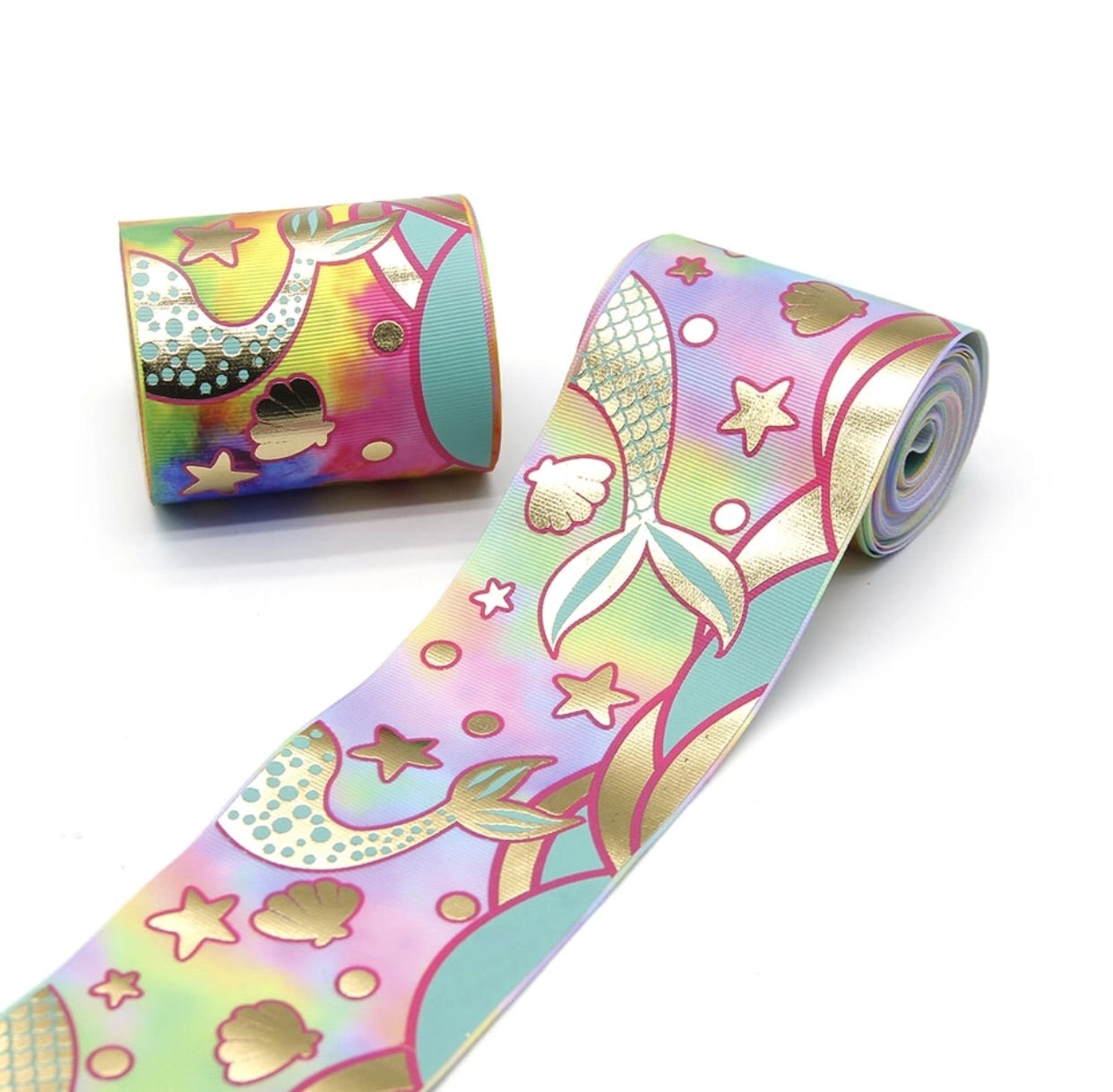 "3"" grosgrain ribbon - Mermaid on Pastel - shabbyflowers.com"