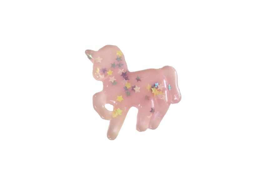 Unicorn resin - light pink with glitter stars