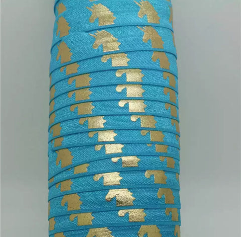 Elastic - Gold Foil Unicorns on Blue