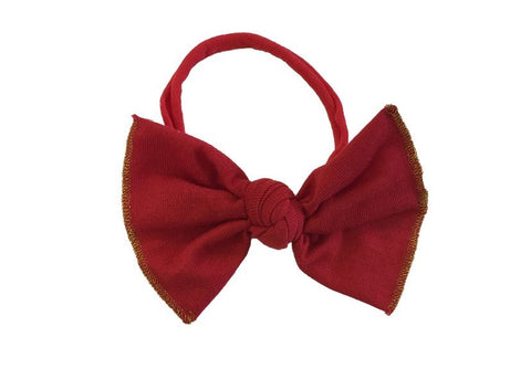 Nylon Bow Headband Red