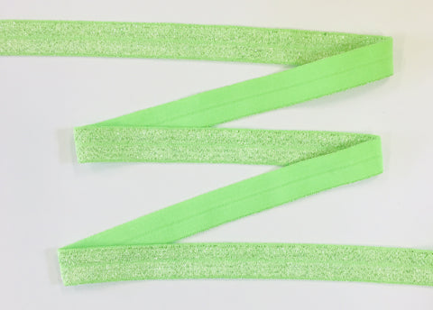 Solid Foldover Elastic - Metallic Lime