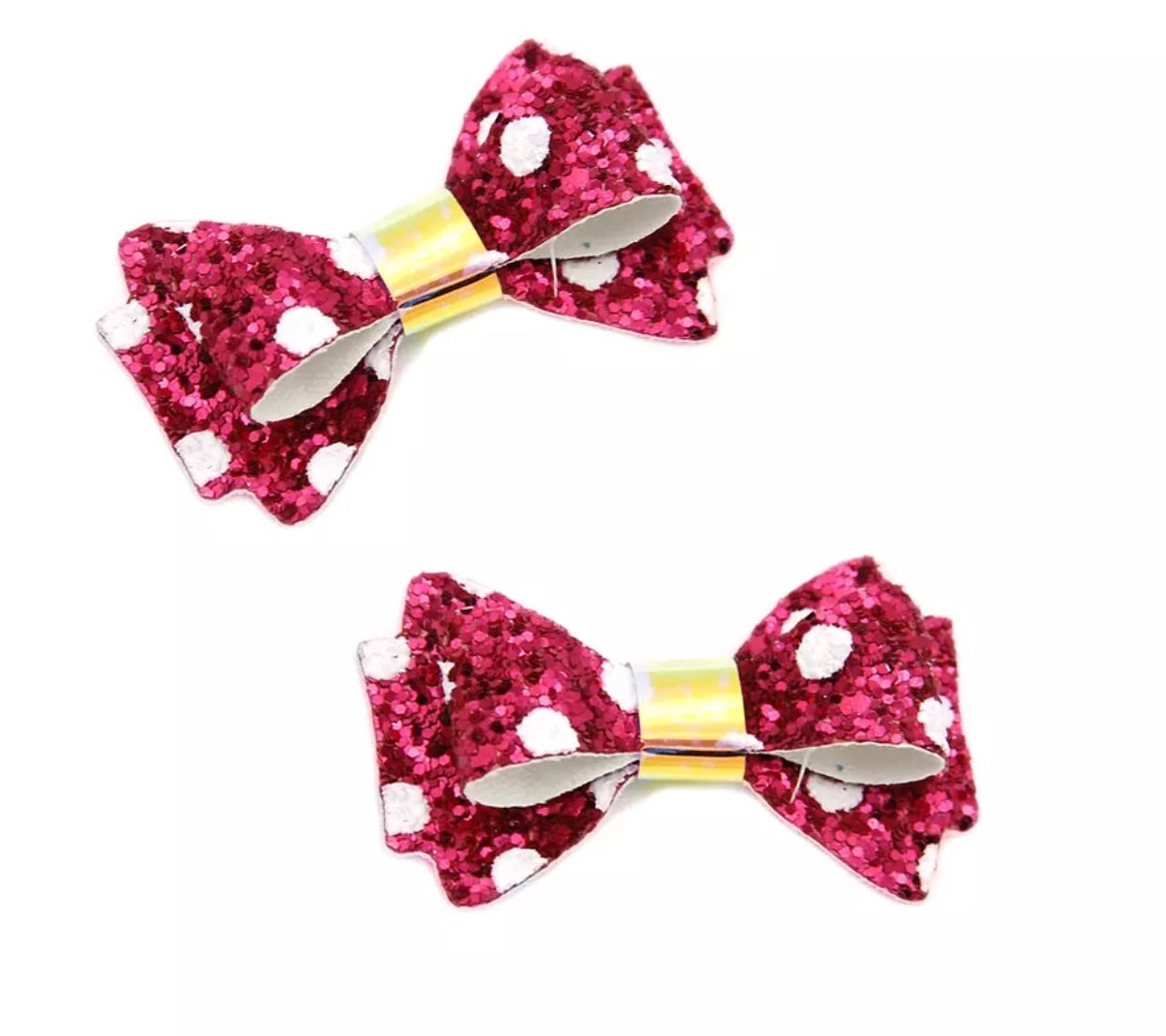 Chunky Glitter Bow - White Dots on Hot Pink - shabbyflowers.com