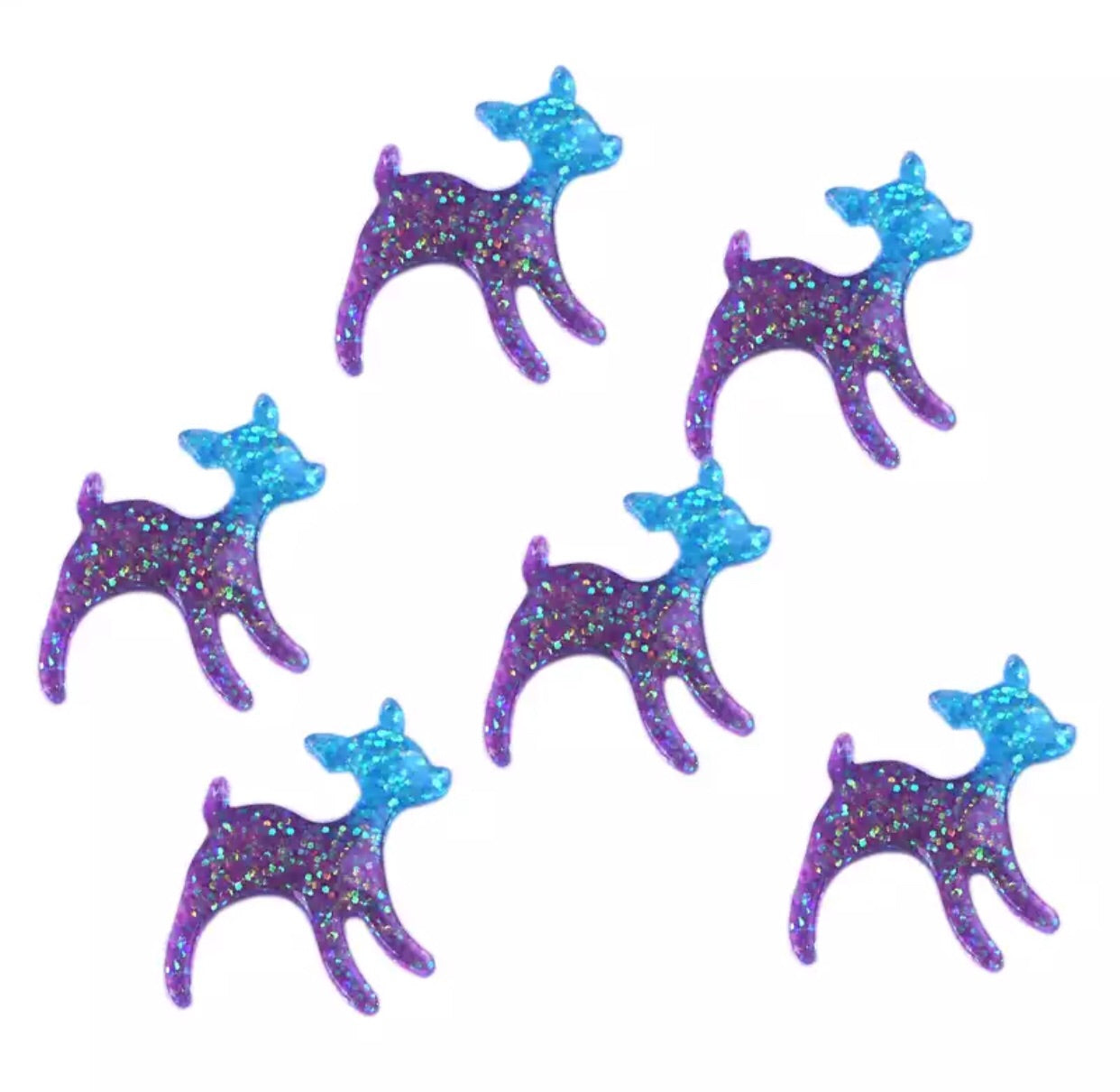 Deer resin - glitter blue and purple - shabbyflowers.com
