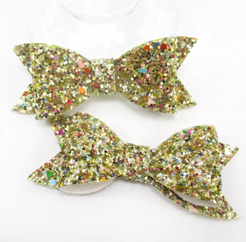 Large Chunky Glitter Bow - Gold