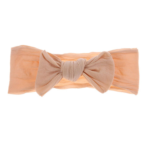 Tied Knot Nylon Headband - Peach