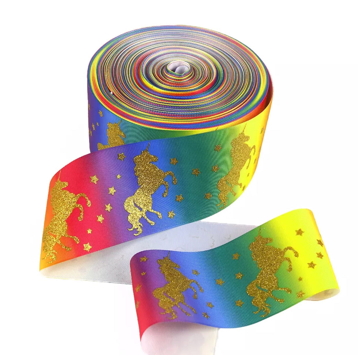 "3"" grosgrain ribbon - Glitter Unicorn on Rainbow - shabbyflowers.com"