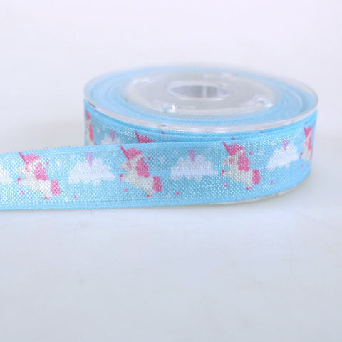 Elastic - Pink Unicorn on Blue Print