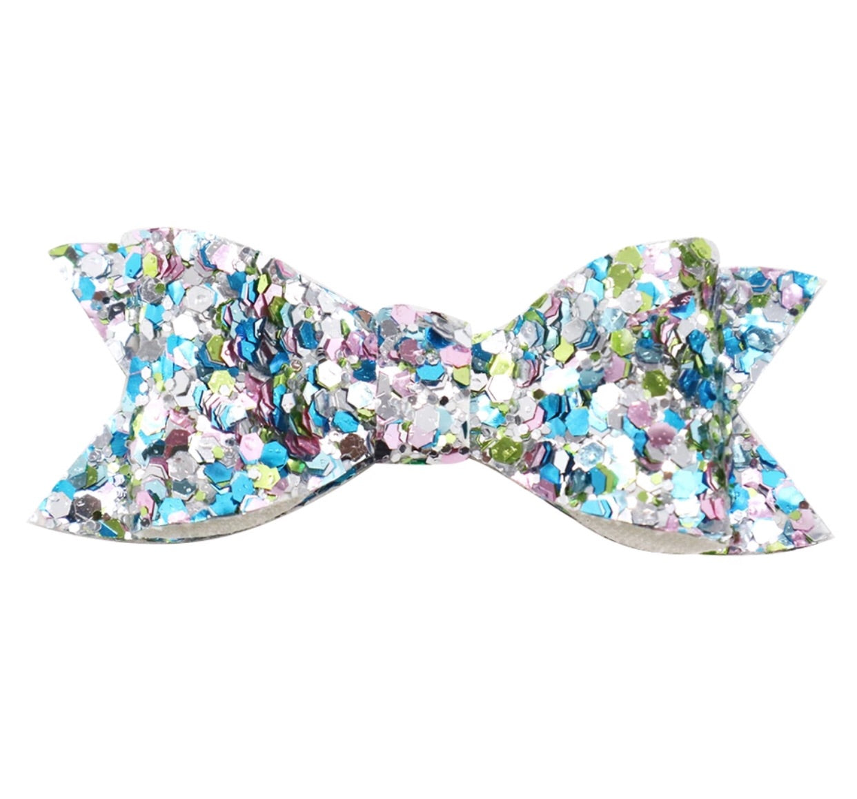 Chunky Glitter Bow - Seashore - shabbyflowers.com