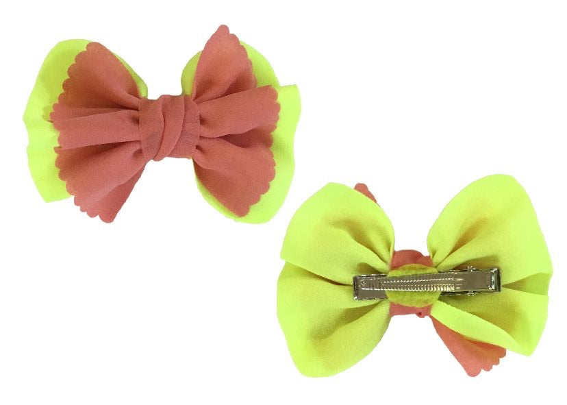 Chiffon Bow with clip - Coral and Lime - shabbyflowers.com