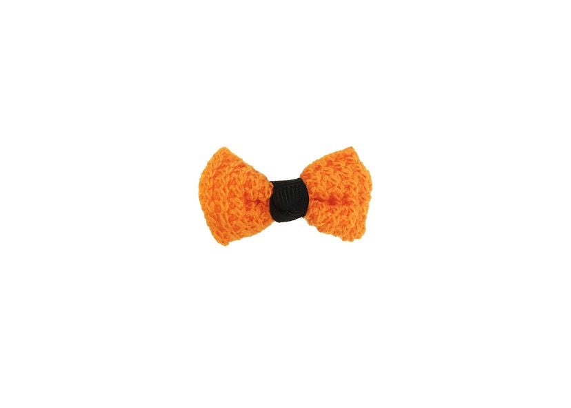 Knit Bow - Orange and Black - shabbyflowers.com