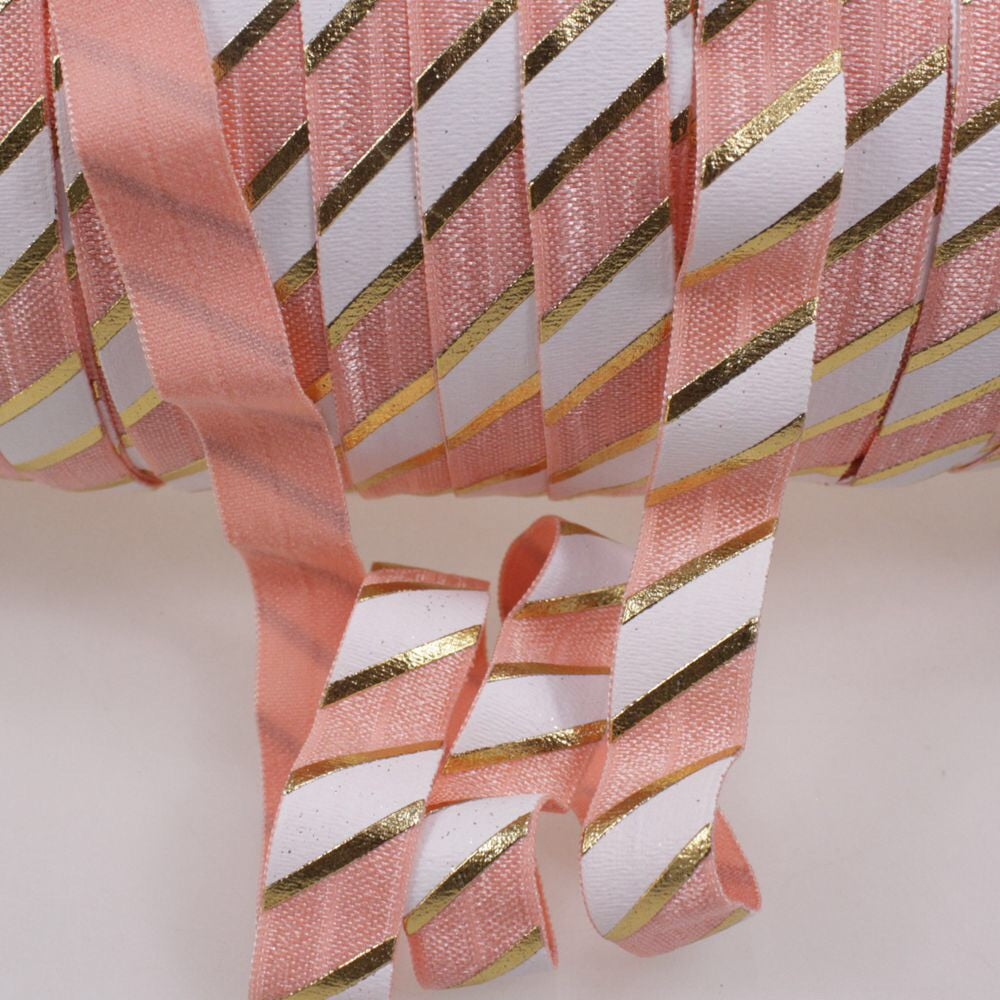 Elastic - Gold Foil Stripes on Peach and White - shabbyflowers.com