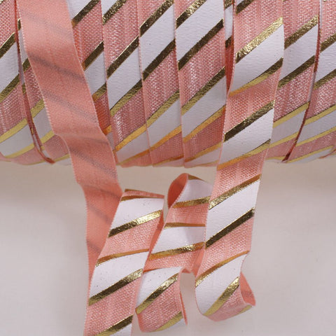 Elastic - Gold Foil Stripes on Peach and White