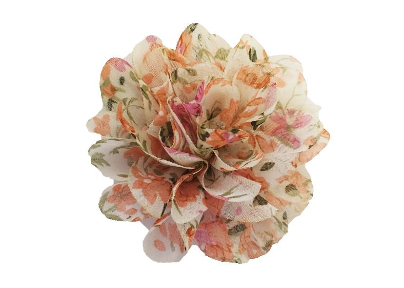 Large Chiffon Flower - Orange Floral