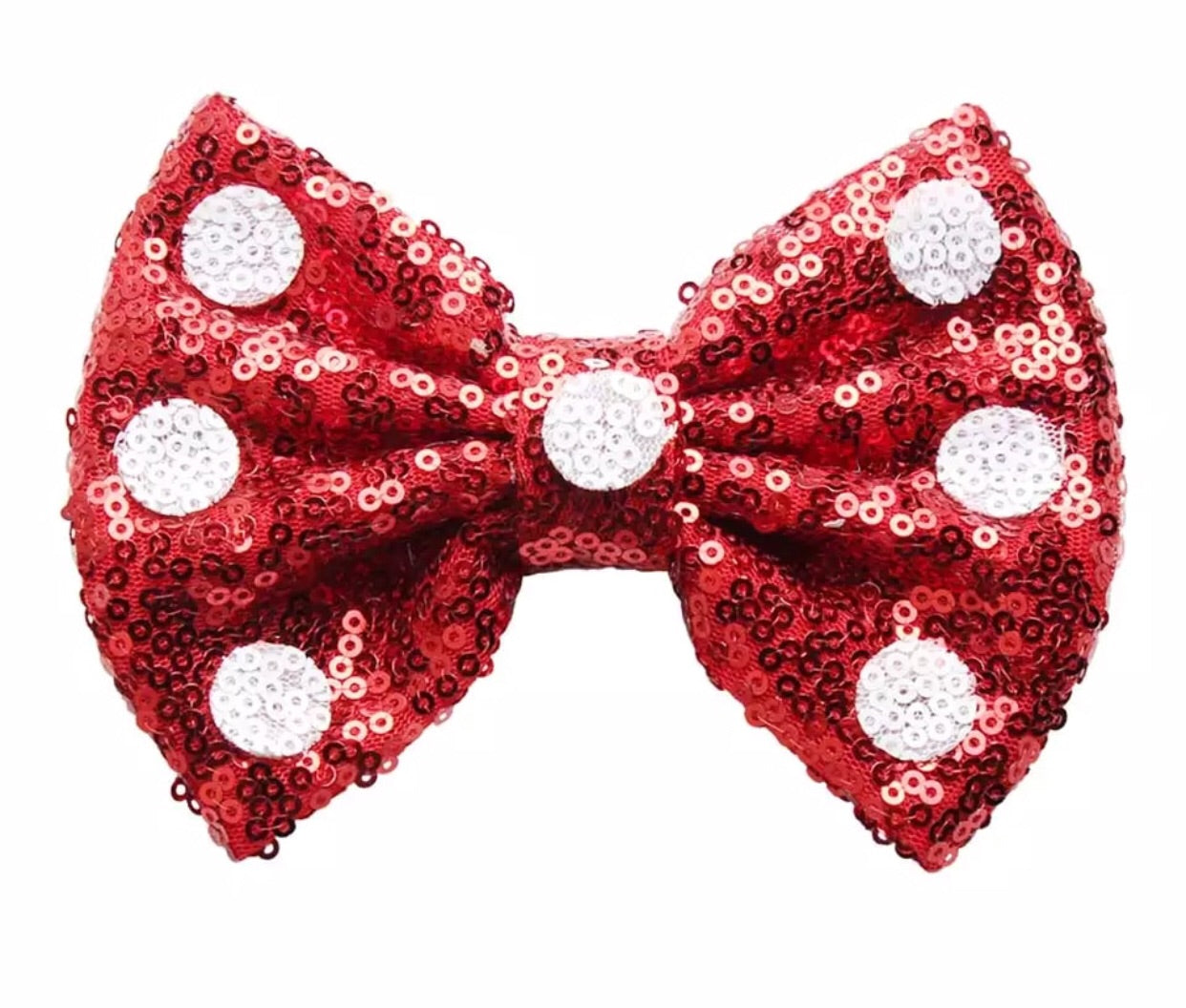 Large Sequin Bow - Red with White Dots