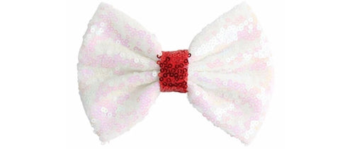 "5"" Large Sequin Bow - White with Red center"