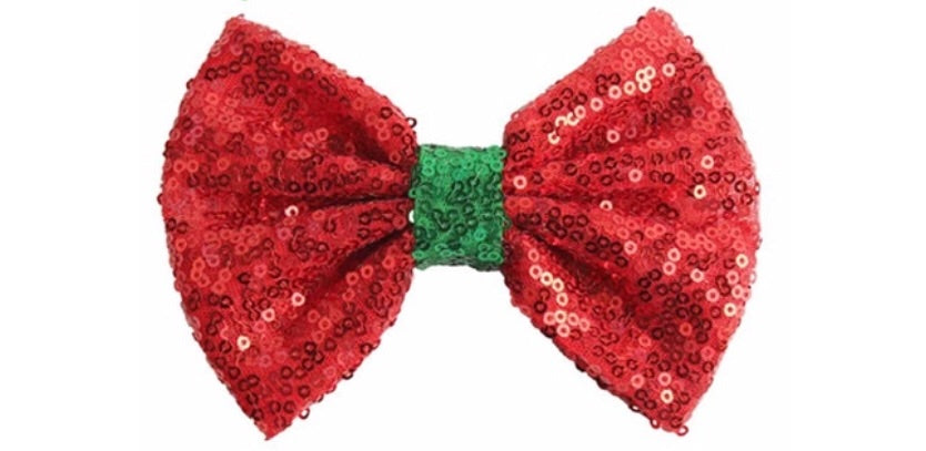 "5"" Large Sequin Bow - Red with Green center"