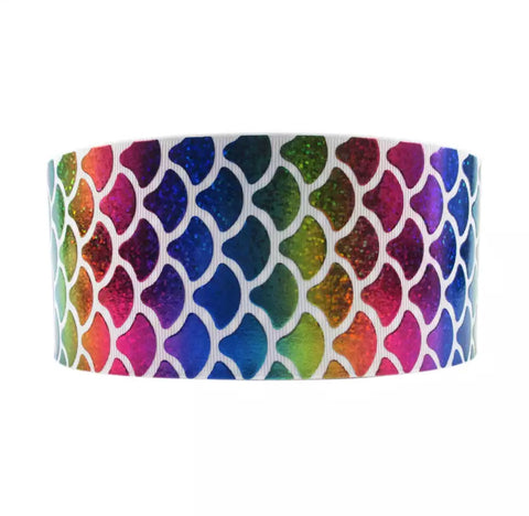 "3"" grosgrain ribbon - rainbow mermaid scale on white"