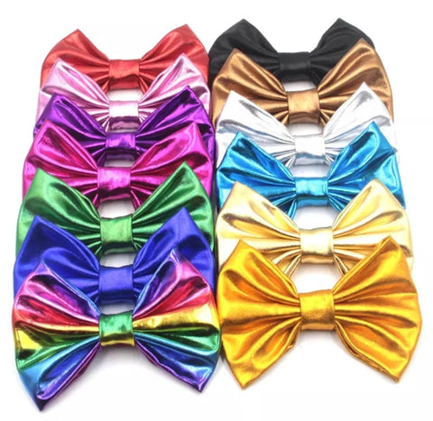 Large Solid Soft Metallic Bow - Choose your color