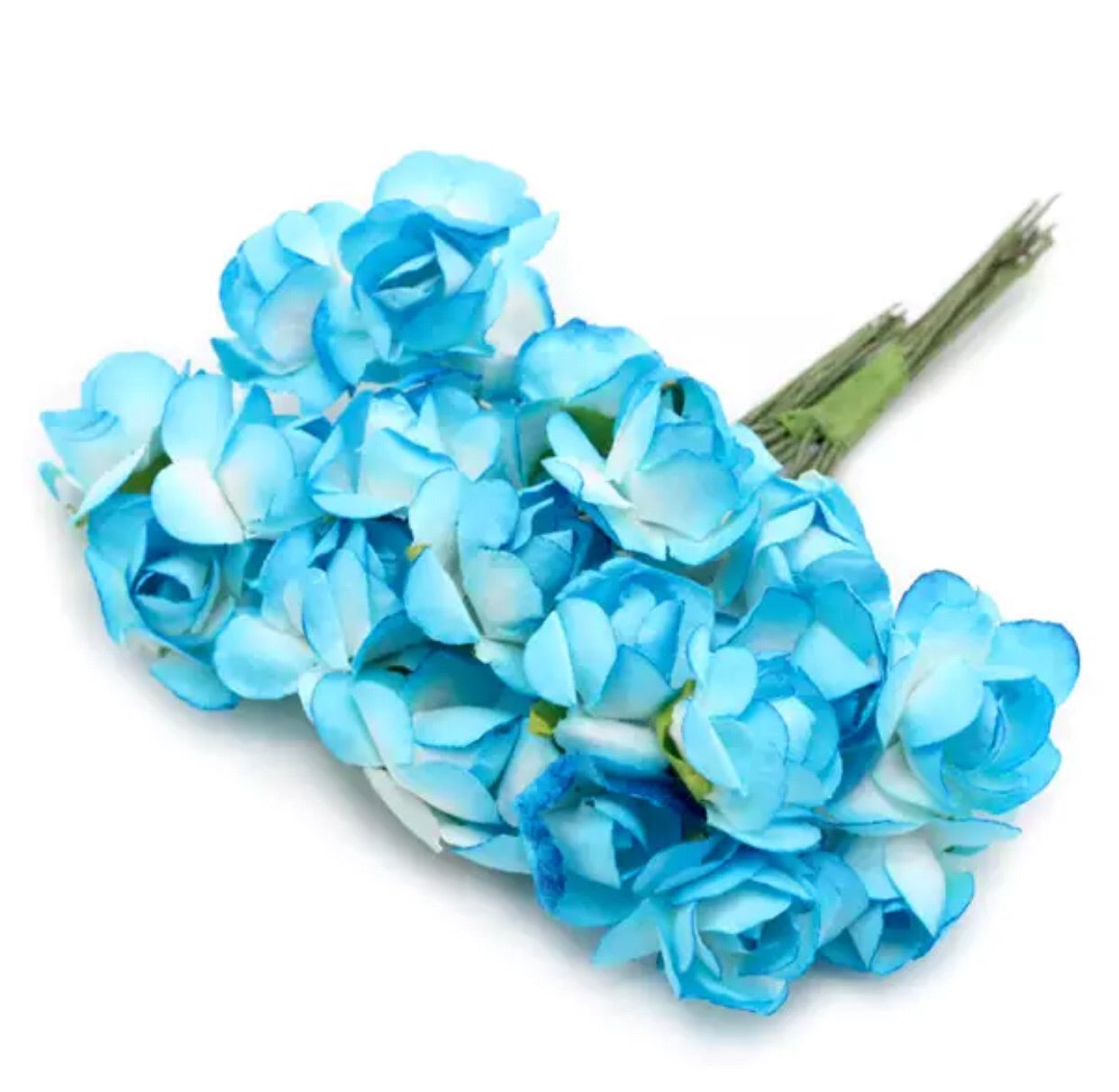 "Paper Flowers - 1/2"" Sky Blue - shabbyflowers.com"