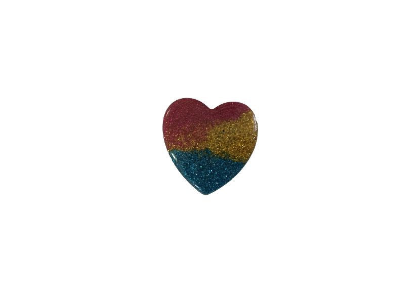 Heart resin - Red, yellow and blue - shabbyflowers.com