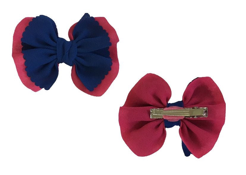 Chiffon Bow with clip - Blue and Hot Pink - shabbyflowers.com