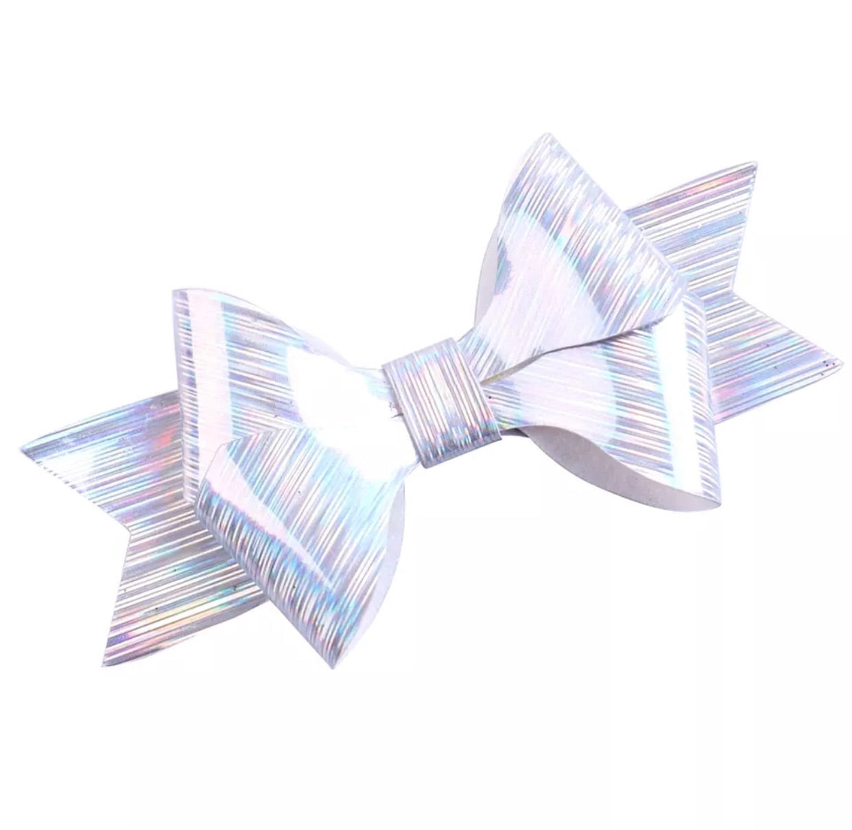 Faux Leather Bow - Metallic Silver - shabbyflowers.com