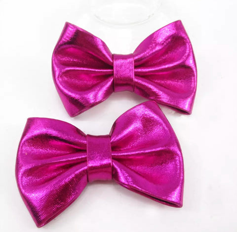Medium Solid Soft Metallic Bow - Hot Pink