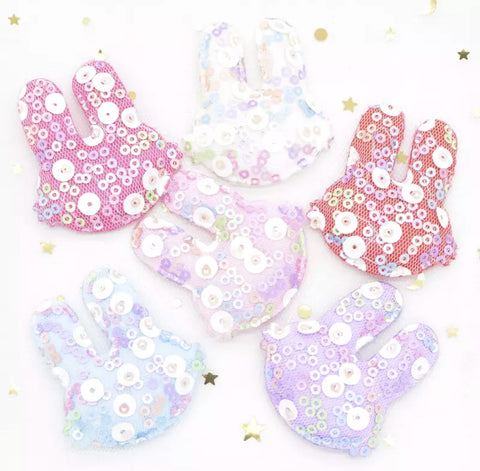 Sequin Padded Bunny Applique - Choose Your Color