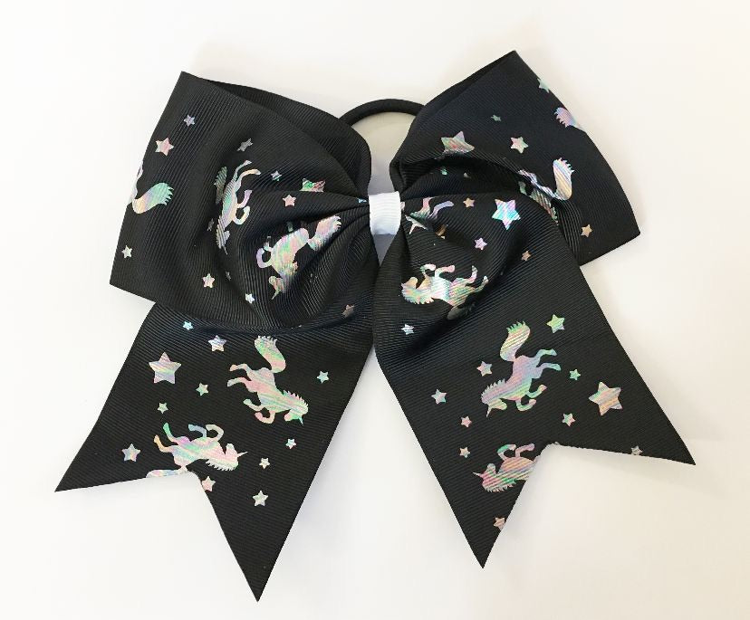 Hologram Unicorn on Black Grosgrain Bow with hair tie - shabbyflowers.com