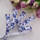 Elastic - Blue Floral on White - shabbyflowers.com